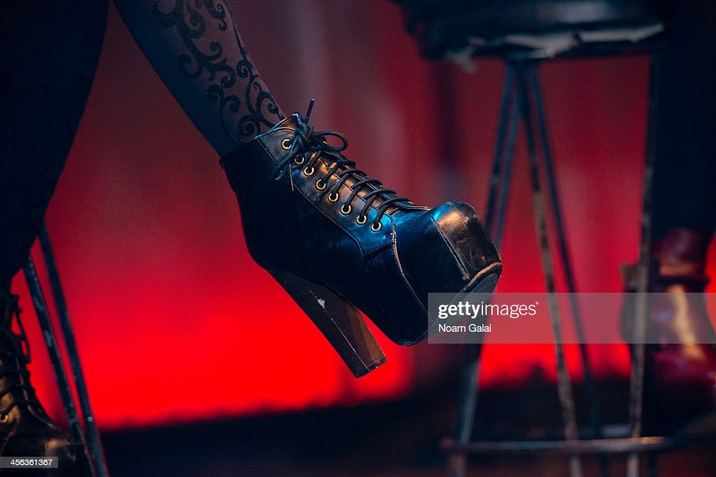 Camila Cabello (shoe detail) of Fifth Harmony performs at the Z100 & Coca-Cola All Access Lounge at Hammerstein Ballroom on December 13, 2013 in New York City.