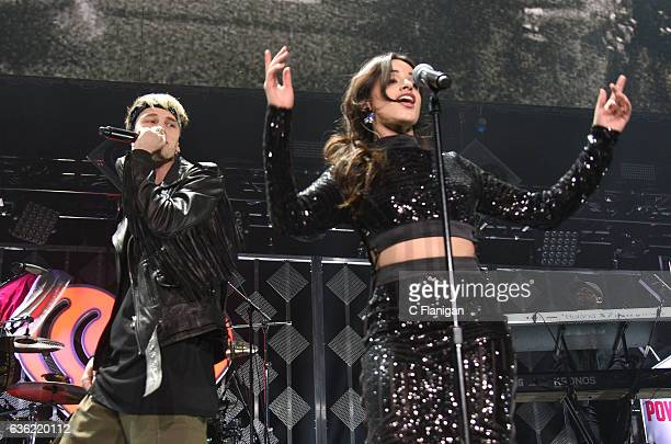 Camila Cabello of Fifth Harmony performs during a special set with MGK aka Machine Gun Kelly during Power 961's Jingle Ball 2016 at Philips Arena on...