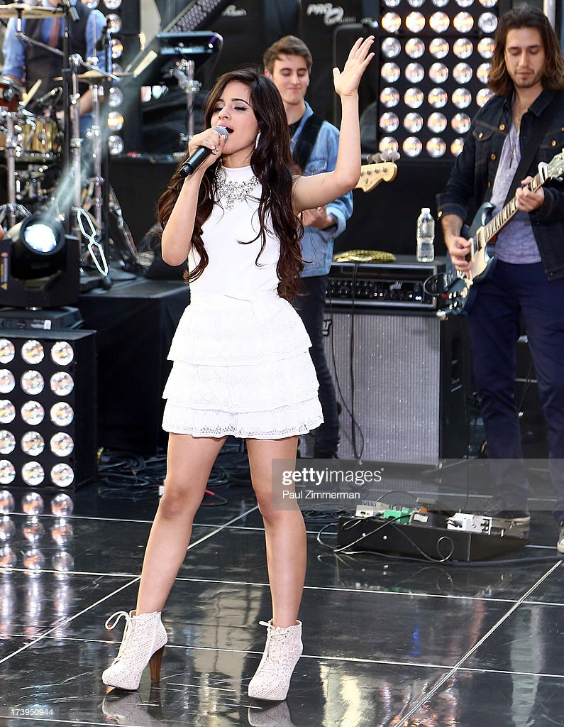Camila Cabello of the band Fifth Harmony performs on NBC's 'Today' at Rockefeller Plaza on July 18, 2013 in New York City.