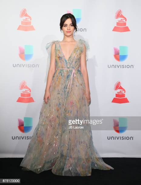 Camila Cabello poses in the press room during The 18th Annual Latin Grammy Awards at MGM Grand Garden Arena on November 16 2017 in Las Vegas Nevada