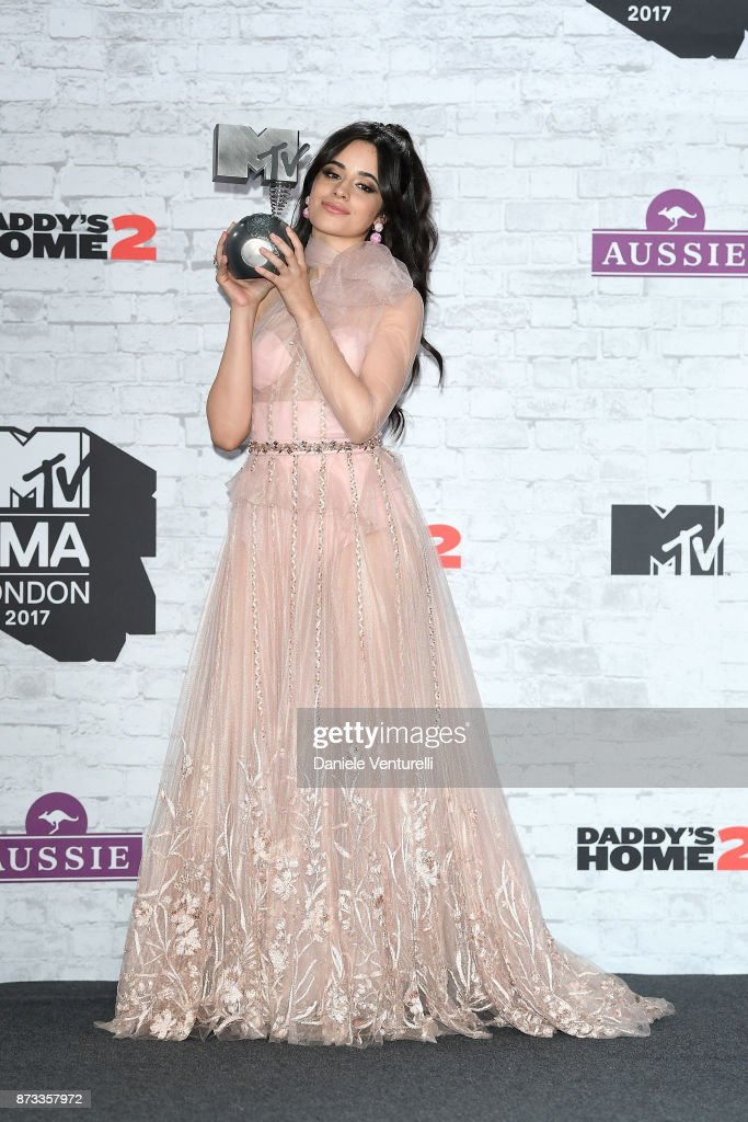 Camilla Cabello poses with the award for Best Pop in the winner's room during the MTV EMAs 2017 held at The SSE Arena, Wembley on November 12, 2017 in London, England.