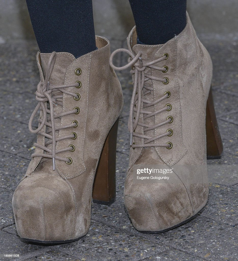 Camila Cabello (shoe detail) visits the Empire State Building in celebration of the release of their 'Better Together' EP at The Empire State Building on October 23, 2013 in New York City.