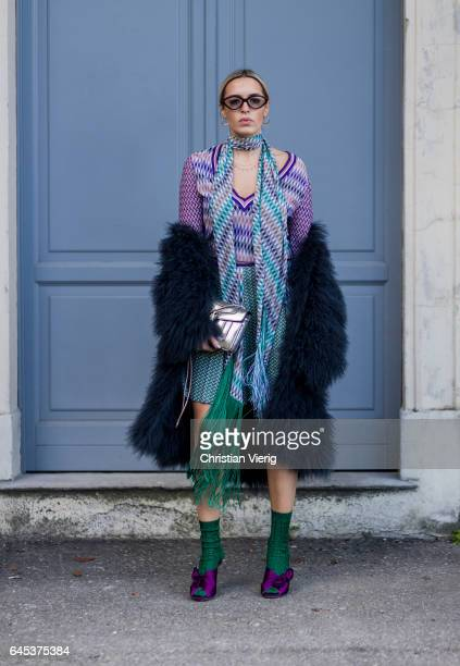 Camila Carril wearing Missoni dressnavy fur coat green socks purple heels outside Missoni during Milan Fashion Week Fall/Winter 2017/18 on February...