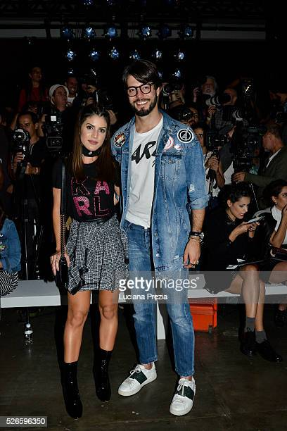 Camila Coelho and Kadu Dantas attend Karl Lagerfeld for Riachuelo fashion show during SPFW Summer 2017 at Ibirapuera's Bienal Pavilion on April 26...