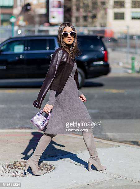Camila Coelho wearing all Calvin Klein seen outside Calvin Klein during New York Fashion Week Women's Fall/Winter 2016 on February 18 2016 in New...