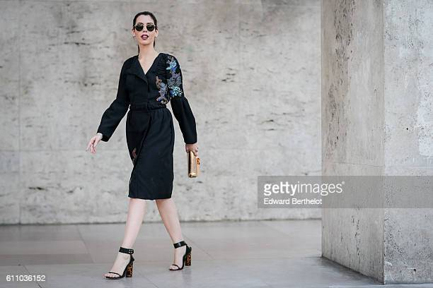Camila Coutinho is seen outside the Rochas show at the Palais de Tokyo during Paris Fashion Week Spring Summer 2017 on September 28 2016 in Paris...