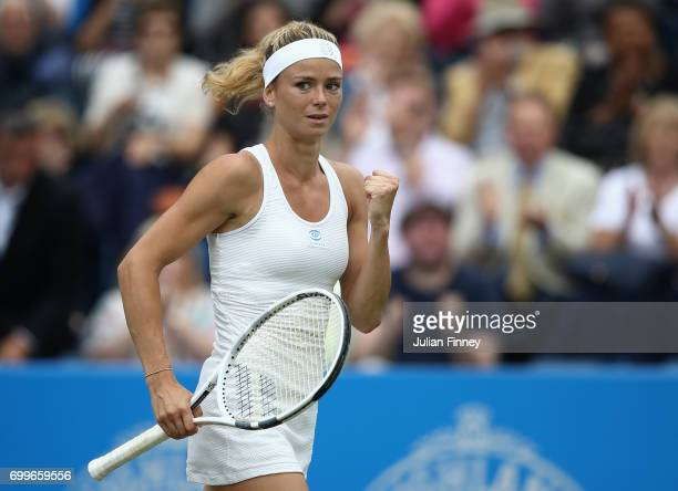 Camila Giorgi of Italy celebrates defeating Elina Svitlona of Ukraine during day four of the Aegon Classic at Edgbaston Priory Club on June 22 2017...