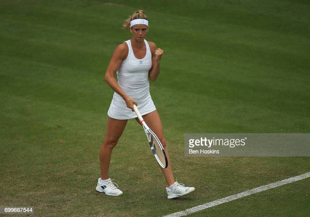 Camila Giorgi of Italy celebrates winning the second round match against Elina Svitolina of Ukraine on day four of The Aegon Classic Birmingham at...