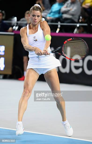 Camila Giorgi of Italy in action during day 2 of the Fed Cup World Group tie between France and Italy at Palais des Sports on February 7 2016 in...