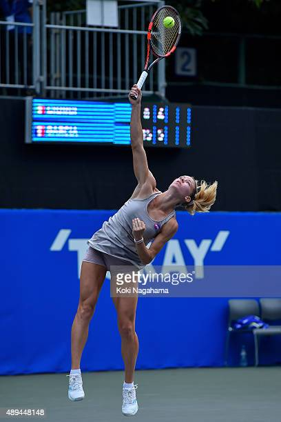 Camila Giorgi of Italy in action during the women's singles match against Caroline Garcia of France during day one of the Toray Pan Pacific Open at...