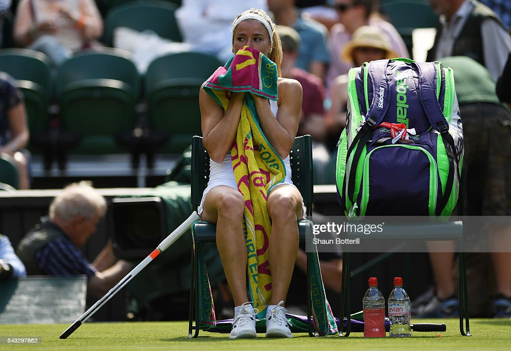<a gi-track='captionPersonalityLinkClicked' href=/galleries/search?phrase=Camila+Giorgi&family=editorial&specificpeople=7865503 ng-click='$event.stopPropagation()'>Camila Giorgi</a> of Italy reacts during the Ladies Singles first round match against Gabrine Muguruza of Spain on day one of the Wimbledon Lawn Tennis Championships at the All England Lawn Tennis and Croquet Club on June 27th, 2016 in London, England.