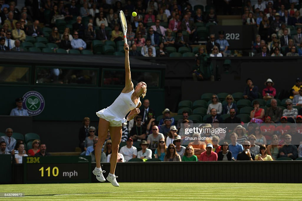<a gi-track='captionPersonalityLinkClicked' href=/galleries/search?phrase=Camila+Giorgi&family=editorial&specificpeople=7865503 ng-click='$event.stopPropagation()'>Camila Giorgi</a> of Italy serves during the Ladies Singles first round match against Gabrine Muguruza of Spain of Italy on day one of the Wimbledon Lawn Tennis Championships at the All England Lawn Tennis and Croquet Club on June 27th, 2016 in London, England.