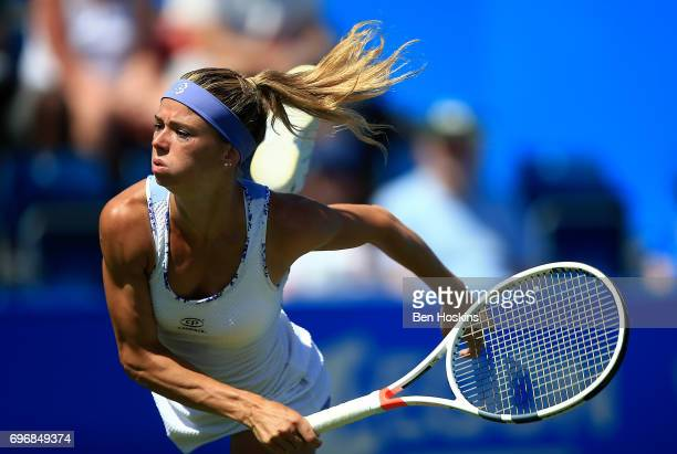 Camila Giorgi of Italy serves during the qualifying match against Emily Appleton of Great Britain at Edgbaston Priory Club on June 17 2017 in...