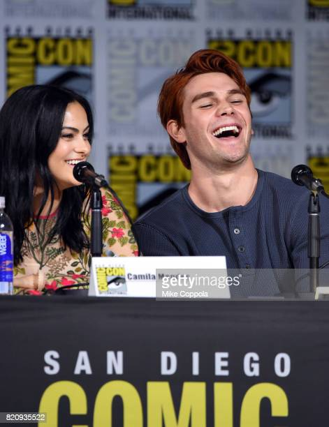 Camila Mendes and KJ Apa attend 'Riverdale' special video presentation and QA during ComicCon International 2017 at San Diego Convention Center on...