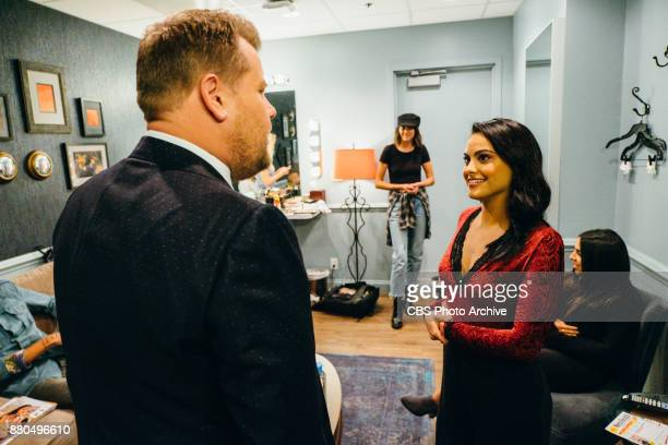 Camila Mendes chats in the green room with James Corden during 'The Late Late Show with James Corden' Tuesday November 21 2017 On The CBS Television...