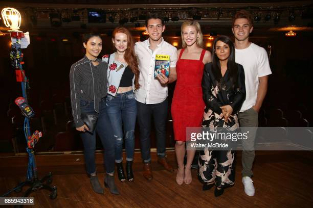 Camila Mendes Madelaine Petsch Casey Cott Lili Reinhart Marisol Nichols and KJ Apa from the cast of 'Riverdale' visits Broadway's 'Bandstand' at the...