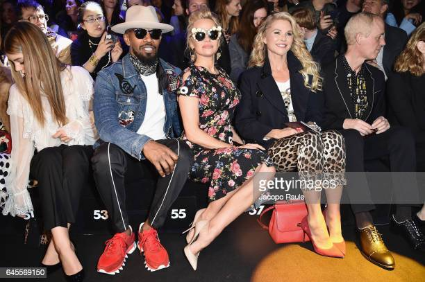 Camila Morrone Jamie Foxx Pamela Anderson and Christie Brinkley attend the Dolce Gabbana show during Milan Fashion Week Fall/Winter 2017/18 on...