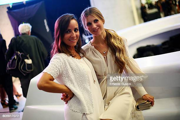 Camila Raznovich and Nicoletta Romanoff attend 'Francesco Escalar Glamour 'n Soul' opening at Museo Maxxi on September 15 2016 in Rome Italy