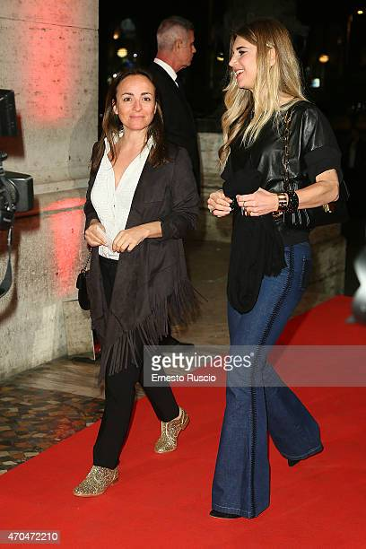 Camila Raznovich and Nicoletta Romanoff attend the 'The Avengers' premiere at The Space Moderno on April 20 2015 in Rome Italy