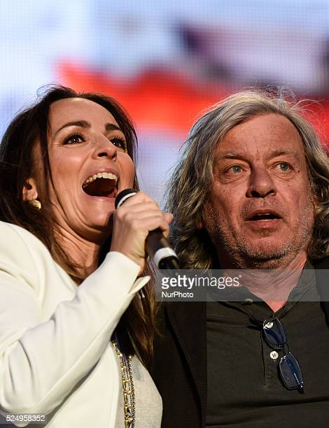 Camila Raznovich and Paolo Rossi at The traditional Labor Day concert in Rome's central Piazza San Giovanni on Friday 1st May 2015 started with a...