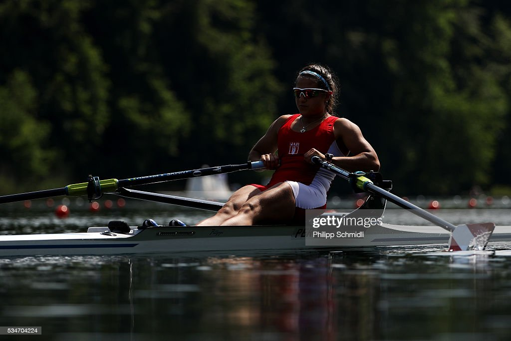 Camila Valle Granados of Peru competes in the Lightweight Women's Single Sculls repechage during day 1 of the 2016 World Rowing Cup II at Rotsee on May 27, 2016 in Lucerne, Switzerland.