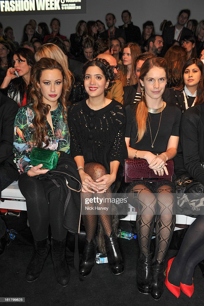 Camilla Al Fayed, Noor Fares and Eugenie Niarchos attend and the Issa London show during London Fashion Week Fall/Winter 2013/14 at Somerset House on February 16, 2013 in London, England.