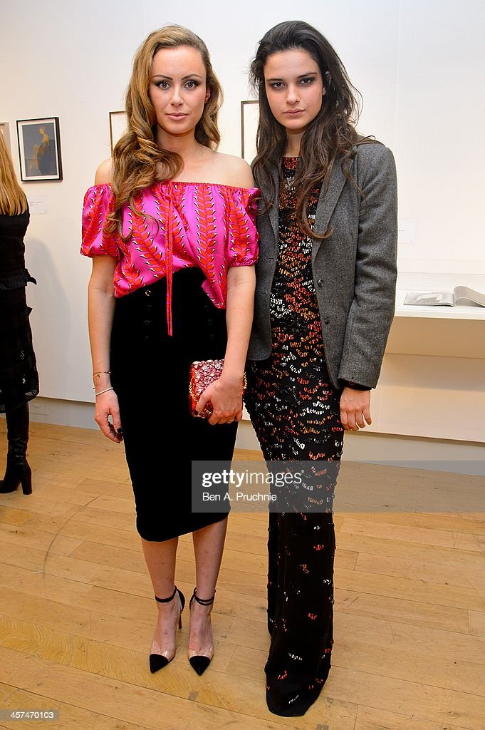 Camilla Al-Fayed and Evangeline Ling attend the Fashion Illustration Gallery At Christie's, which is a celebration of fashionable art in partnership with Issa London with support from Blakes hotel on December 17, 2013 in London, England.