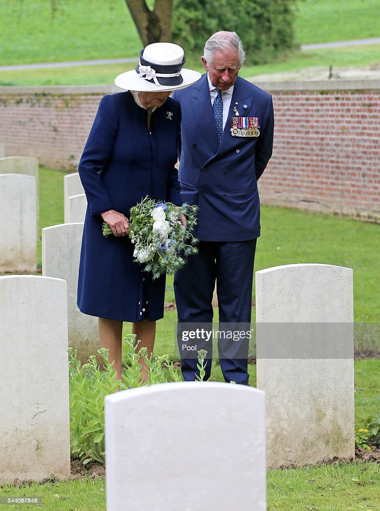 Camilla, Duchess of Cornwall, accompanied by Prince Charles, Prince of Wales, lays a wreath at the grave of her Great Uncle, Captain Harry Cubitt, who was killed during the Battle of the Somme while serving with the Coldstream Guards, at Carnoy Military Cemetery following a Ceremony of Remembrance to mark the 100th anniversary of the start of the battle of the Somme on July 1, 2016 in Carnoy, France. The event is part of the Commemoration of the Centenary of the Battle of the Somme at the Commonwealth War Graves Commission Thiepval Memorial in Thiepval, France, where 70,000 British and Commonwealth soldiers with no known grave are commemorated.
