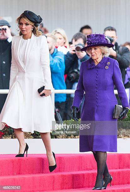 Camilla Duchess of Cornwall and Angelica Rivera wife of Mexican President Enrique Pena Nieto arrive for a ceremonial welcome for The President Of...
