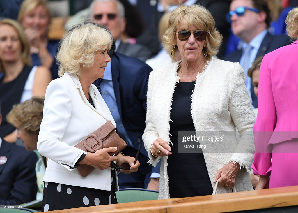 <a gi-track='captionPersonalityLinkClicked' href=/galleries/search?phrase=Camilla+-+Duchess+of+Cornwall&family=editorial&specificpeople=158157 ng-click='$event.stopPropagation()'>Camilla</a>, Duchess of Cornwall and Annabel Elliot attend day four of the Wimbledon Tennis Championships at Wimbledon on June 30, 2016 in London, England.