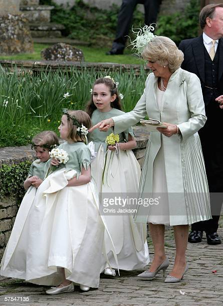 Camilla Duchess of Cornwall and bridesmaids leave Laura Parker Bowles wedding to Harry Lopes at St Cyriac's Church Lacock on May 6 2006 in Wiltshire...