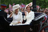 Camilla Duchess of Cornwall and Catherine Duchess of Cambridge arrive in their carriage during the Trooping the Colour this year marking the Queen's...