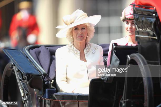 Camilla Duchess of Cornwall and Catherine Duchess of Cambridge arrive for the annual Trooping The Colour parade on June 17 2017 in London England