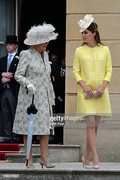 Camilla Duchess of Cornwall and Catherine Duchess of Cambridge attend a Garden Party in the grounds of Buckingham Palace hosted by Queen Elizabeth II...