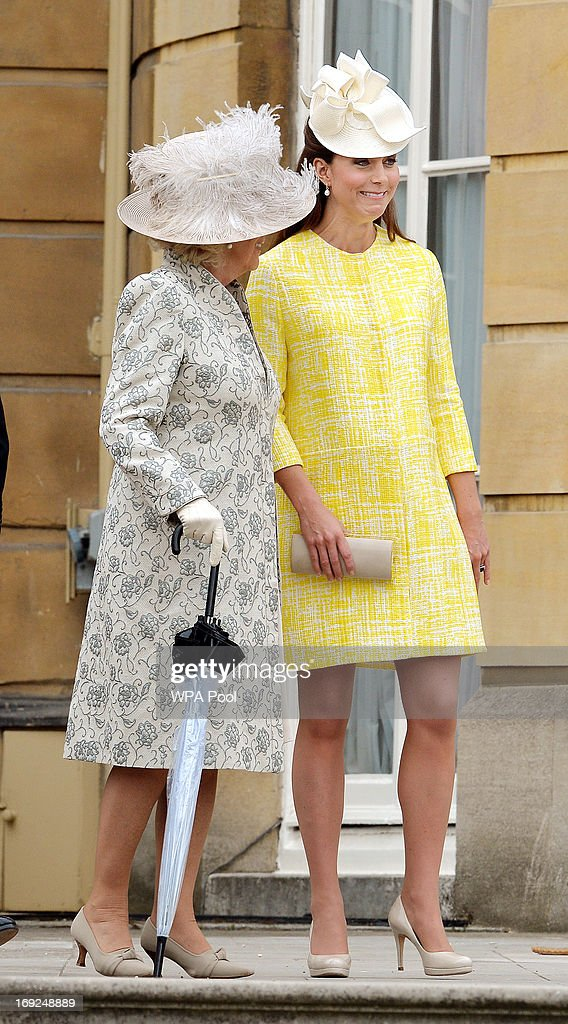 <a gi-track='captionPersonalityLinkClicked' href=/galleries/search?phrase=Camilla+-+Duchess+of+Cornwall&family=editorial&specificpeople=158157 ng-click='$event.stopPropagation()'>Camilla</a>, Duchess of Cornwall and <a gi-track='captionPersonalityLinkClicked' href=/galleries/search?phrase=Catherine+-+Duchess+of+Cambridge&family=editorial&specificpeople=542588 ng-click='$event.stopPropagation()'>Catherine</a>, Duchess of Cambridge attend a Garden Party in the grounds of Buckingham Palace hosted by Queen Elizabeth II on May 22, 2013.