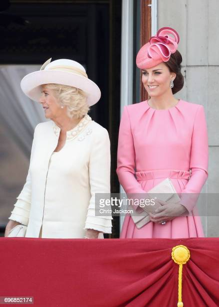 Camilla Duchess of Cornwall and Catherine Duchess of Cambridge look out from the balcony of Buckingham Palace during the Trooping the Colour parade...
