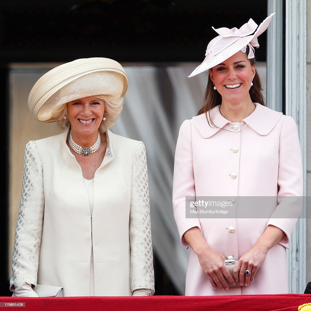 <a gi-track='captionPersonalityLinkClicked' href=/galleries/search?phrase=Camilla+-+Duchess+of+Cornwall&family=editorial&specificpeople=158157 ng-click='$event.stopPropagation()'>Camilla</a>, Duchess of Cornwall and Catherine, Duchess of Cambridge stand on the balcony of Buckingham Palace during the annual Trooping the Colour Ceremony on June 15, 2013 in London, England. Today's ceremony which marks the Queen's official birthday will not be attended by Prince Philip the Duke of Edinburgh as he recuperates from abdominal surgery. This will also be The Duchess of Cambridge's last public engagement before her baby is due to be born next month.