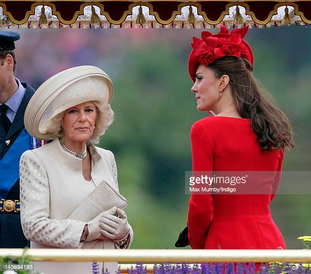 Camilla Duchess of Cornwall and Catherine Duchess of Cambridge onboard the Royal Barge 'Spirit of Chartwell' during the Diamond Jubilee Thames River...