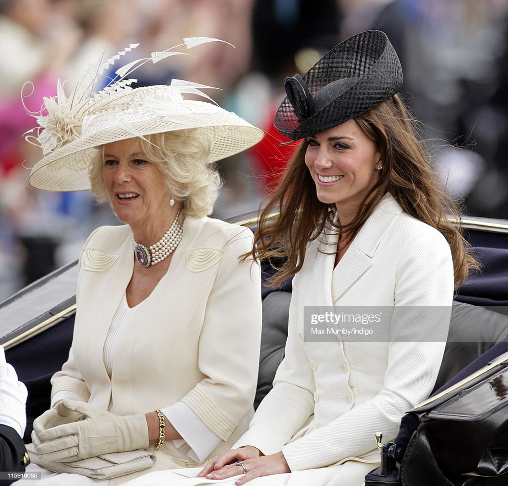 Camilla, Duchess of Cornwall and Catherine, Duchess of Cambridge travel down The Mall in a horse drawn carriage as they attend the Trooping the Colour parade on June 11, 2011 in London, England. The ceremony of Trooping the Colour is believed to have first been performed during the reign of King Charles II. In 1748, it was decided that the parade would be used to mark the official birthday of the Sovereign. More than 600 guardsmen and cavalry make up the parade, a celebration of the Sovereign's official birthday, although the Queen's actual birthday is on 21 April.