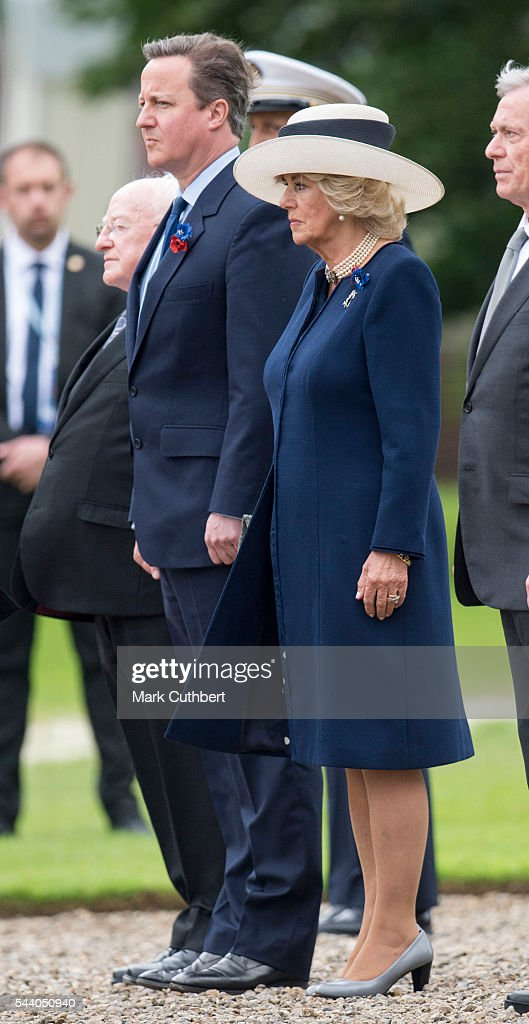 <a gi-track='captionPersonalityLinkClicked' href=/galleries/search?phrase=Camilla+-+Duchess+of+Cornwall&family=editorial&specificpeople=158157 ng-click='$event.stopPropagation()'>Camilla</a>, Duchess of Cornwall and <a gi-track='captionPersonalityLinkClicked' href=/galleries/search?phrase=David+Cameron+-+Politician&family=editorial&specificpeople=227076 ng-click='$event.stopPropagation()'>David Cameron</a> attend a Commemoration of the Centenary of the Battle of the Somme at The Commonwealth War Graves Commission Thiepval Memorial on July 01, 2016 in Thiepval, France.