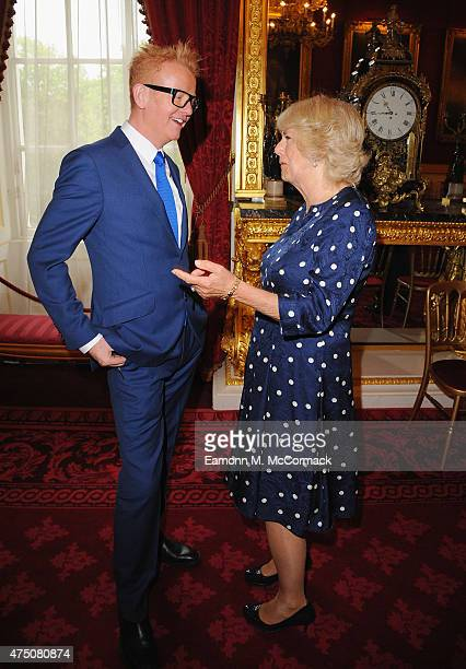 Camilla Duchess of Cornwall and DJ Chris Evans attend The Final Of BBC2's 500 Words Competition at St James Palace on May 29 2015 in London England