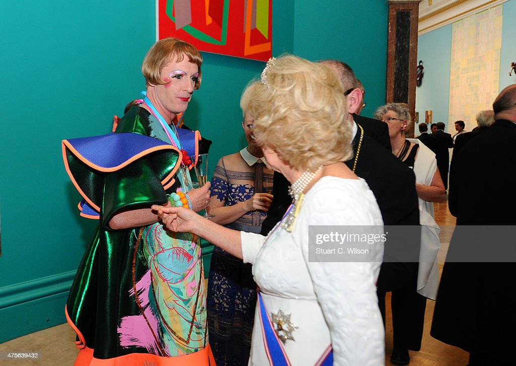 Camilla, Duchess Of Cornwall and Grayson Perry attend the Royal Academy Annual Dinner to celebrate the Summer Exhibition, opening to the public on 8 June, at Royal Academy of Arts on June 2, 2015 in London, England.