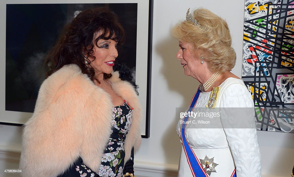 Camilla, Duchess Of Cornwall and Joan Collins attend the Royal Academy Annual Dinner to celebrate the Summer Exhibition, opening to the public on 8 June, at Royal Academy of Arts on June 2, 2015 in London, England.