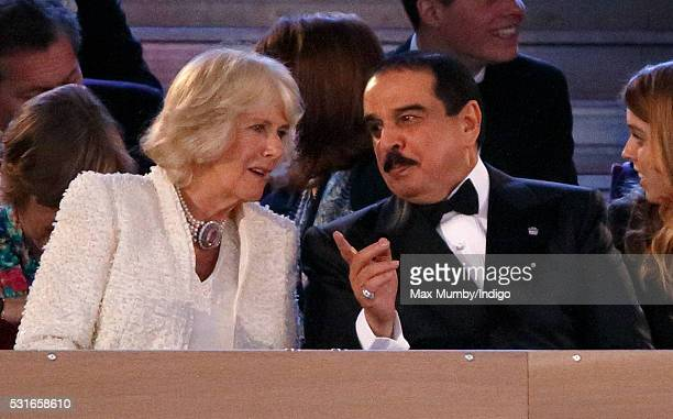 Camilla Duchess of Cornwall and King Hamad bin Isa Al Khalifa of Bahrain attend the final night of The Queen's 90th Birthday Celebrations being held...