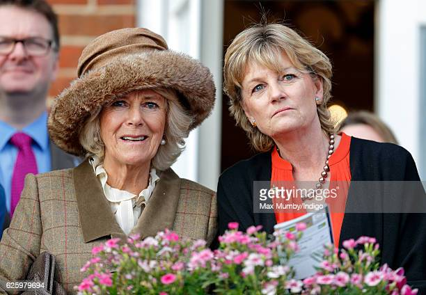 Camilla Duchess of Cornwall and Madeleine Lloyd Webber watch the racing as they attend the 60th Hennessy Gold Cup at Newbury Racecourse on November...