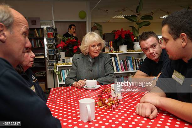 Camilla Duchess of Cornwall and President of homeless charity Emmaus UK meets some of it's companions as she visits Emmaus Hastings and Rother on...
