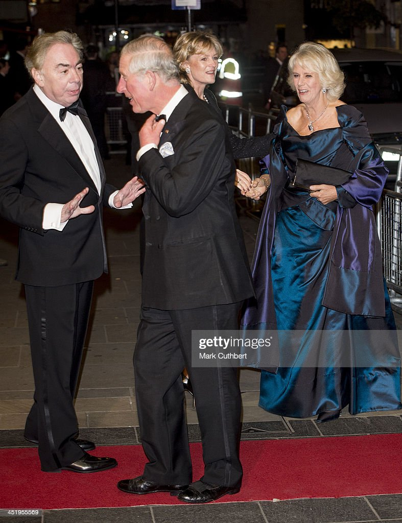 Camilla, Duchess of Cornwall and Prince Charles, Prince of Wales are greeted by Madeleine Lloyd Webber and Lord Andrew Lloyd Webber as they attend the Royal Variety Performance at London Palladium on November 25, 2013 in London, England.