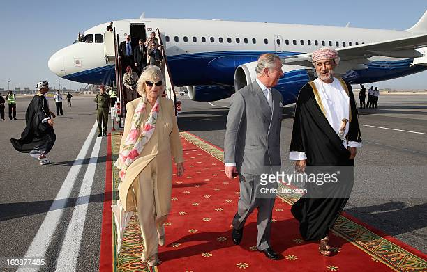 Camilla Duchess of Cornwall and Prince Charles Prince of Wales arrive at Oman International Airport on the seventh day of a tour of the Middle East...