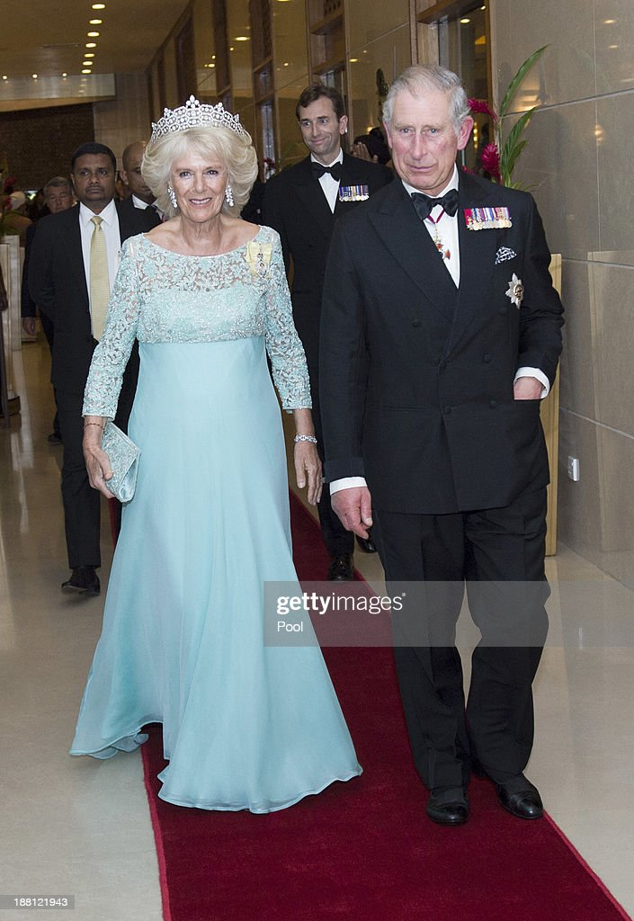 Camilla, Duchess of Cornwall and Prince Charles, Prince of Wales arrive at the CHOGM Dinner at the Cinnamon Lakeside Hotel during the Commonwealth Heads of Government 2013 Opening Ceremony at the Lotus Theatre on November 15, 2013 in Colombo, Sri Lanka. The Royal couple are visiting Sri Lanka in order to attend the 2013 Commonwealth Heads of Government Meeting.Prince Charles, representing the Queen will open the meeting. Camilla arrived wearing the Boucheron tiara that once belonged to the Queen Mother and the Queen's Family Order, her highest personal order of merit, pinned to her shoulder.