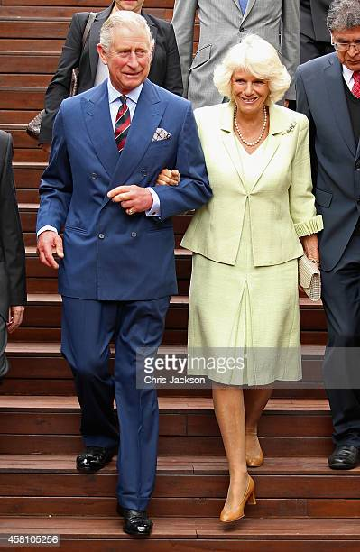 Camilla Duchess of Cornwall and Prince Charles Prince of Wales arrive at the Centre for Peace and Reconciliation on October 30 2014 in Bogota...